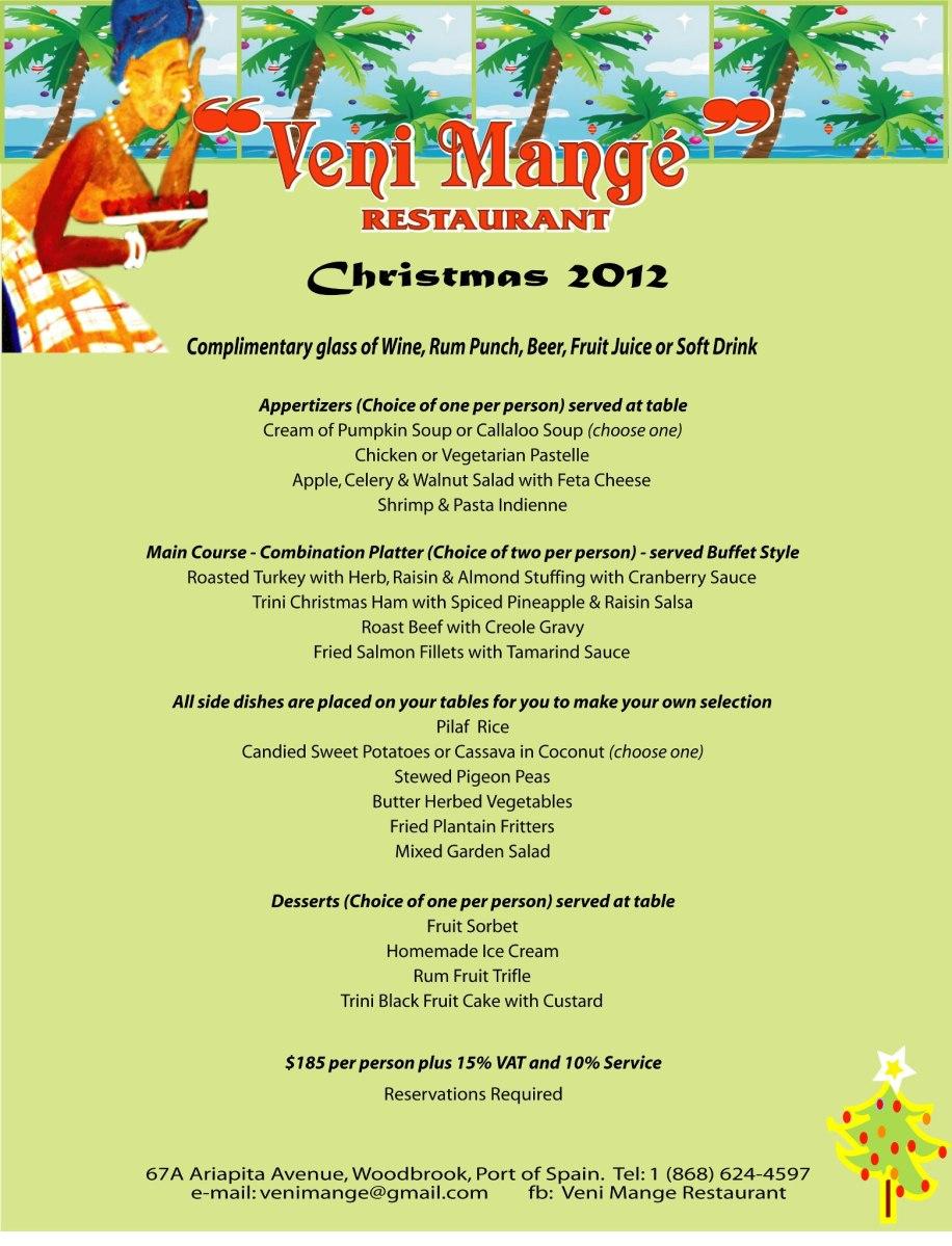 2012 Holiday Eats T Amp T Restaurants 2012 Christmas Menus Trinichow