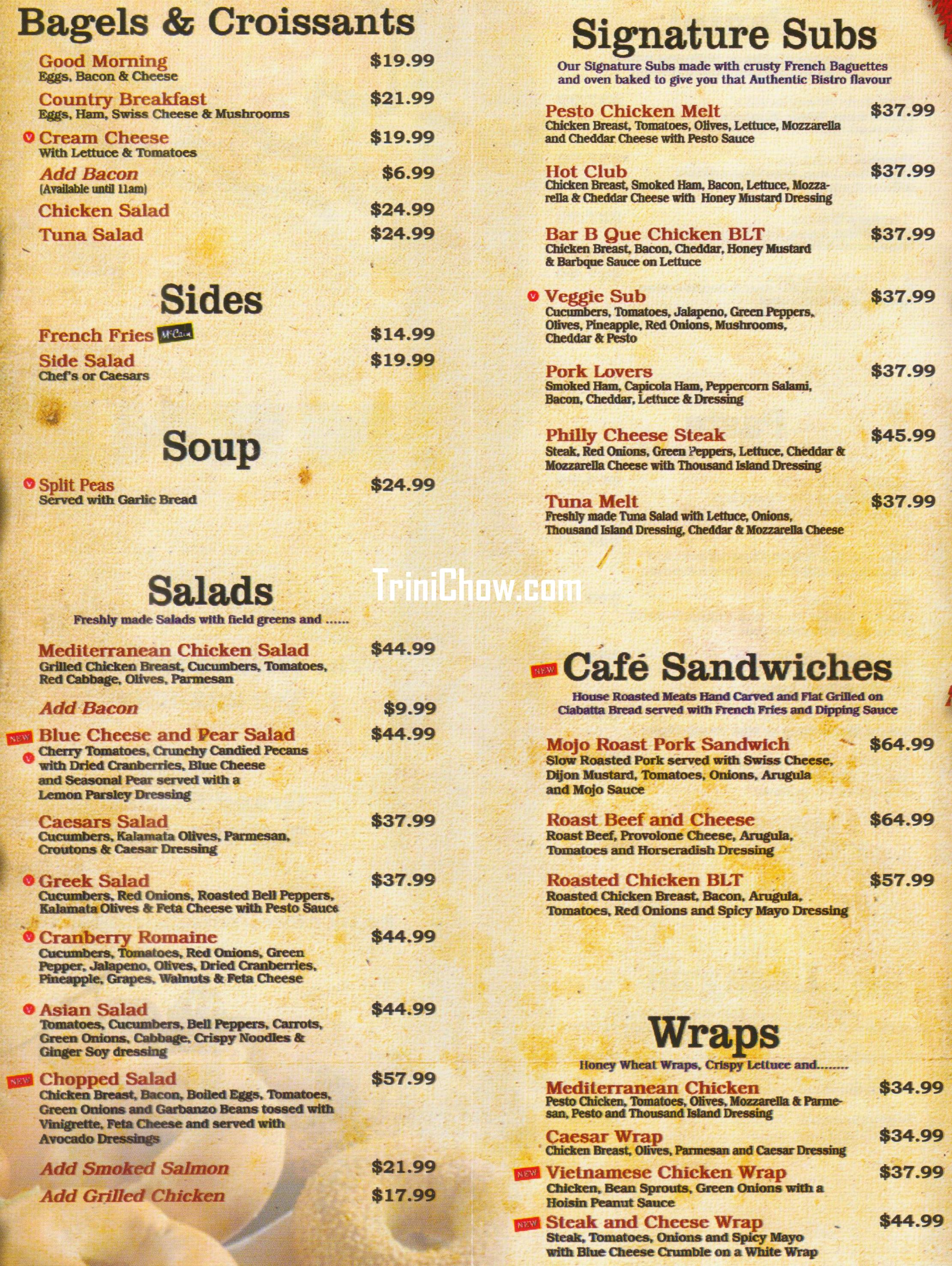 Bookmark Cafe Menu