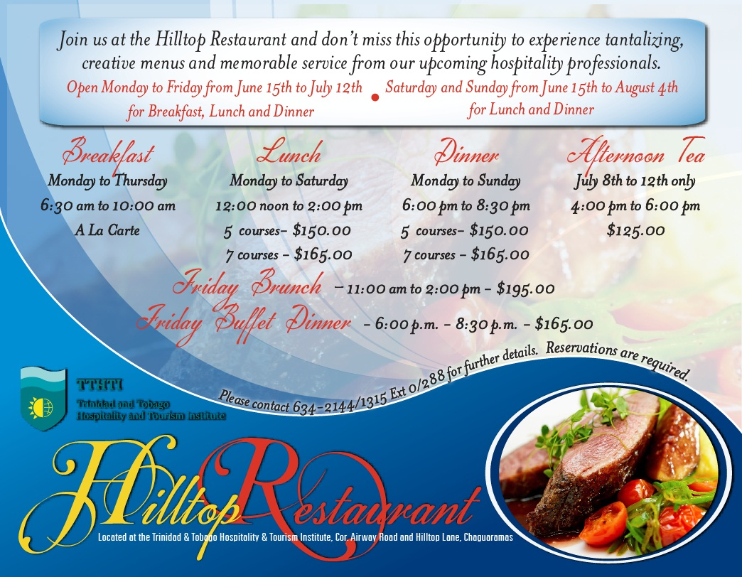 Hilltop restaurant tthti chaguaramas trinidad trinichow