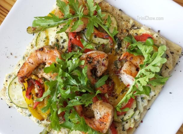 Shrimp Ricotta Artichoke Flatbread Chaud Cafe Trinidad
