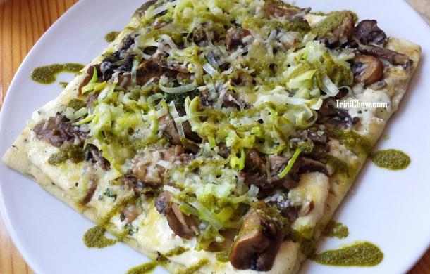 Wild Mushroom Flatbread Chaud Cafe Trinidad