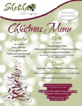 Shesha Trinidad Christmas Menu