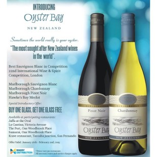 Oyster Bay Wines Trinidad - Restaurant Promotion