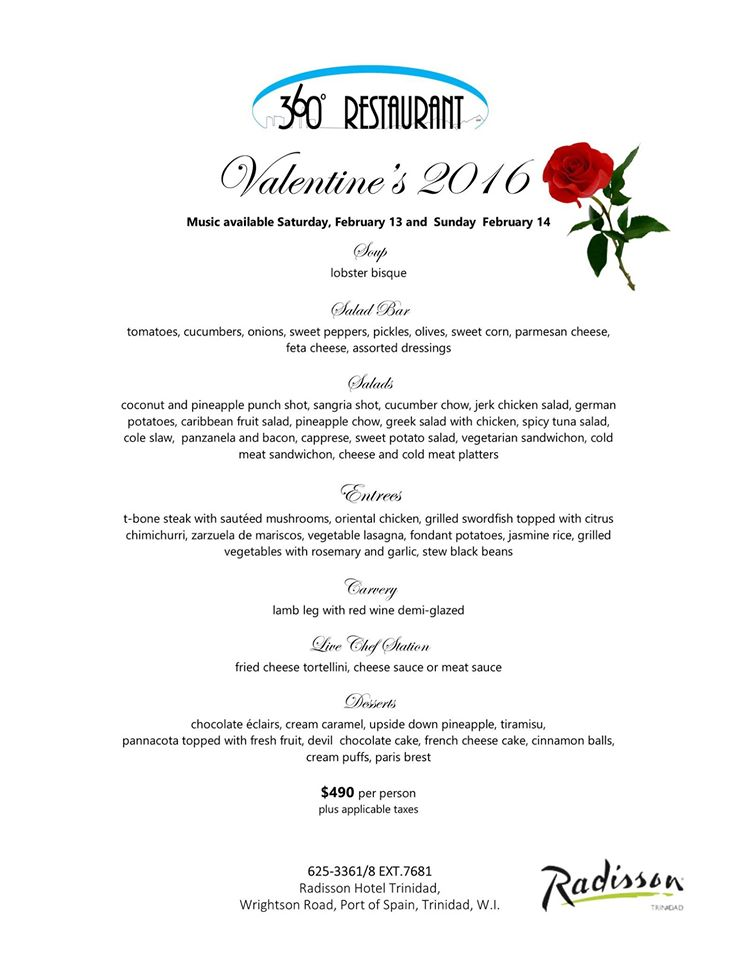 2016 Valentines Day Specials At Restaurants In Trinidad Trinichow